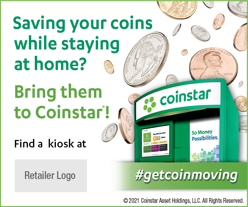 Coinstar Web Baner. Get Coin Moving. Image of Coins Falling and a Coinstar kiosk. 300 by 250 pixels. To obtain, click Accept Terms of Use and Download button.